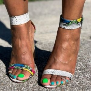 Shoes - Multi Colored Snake Print Heels
